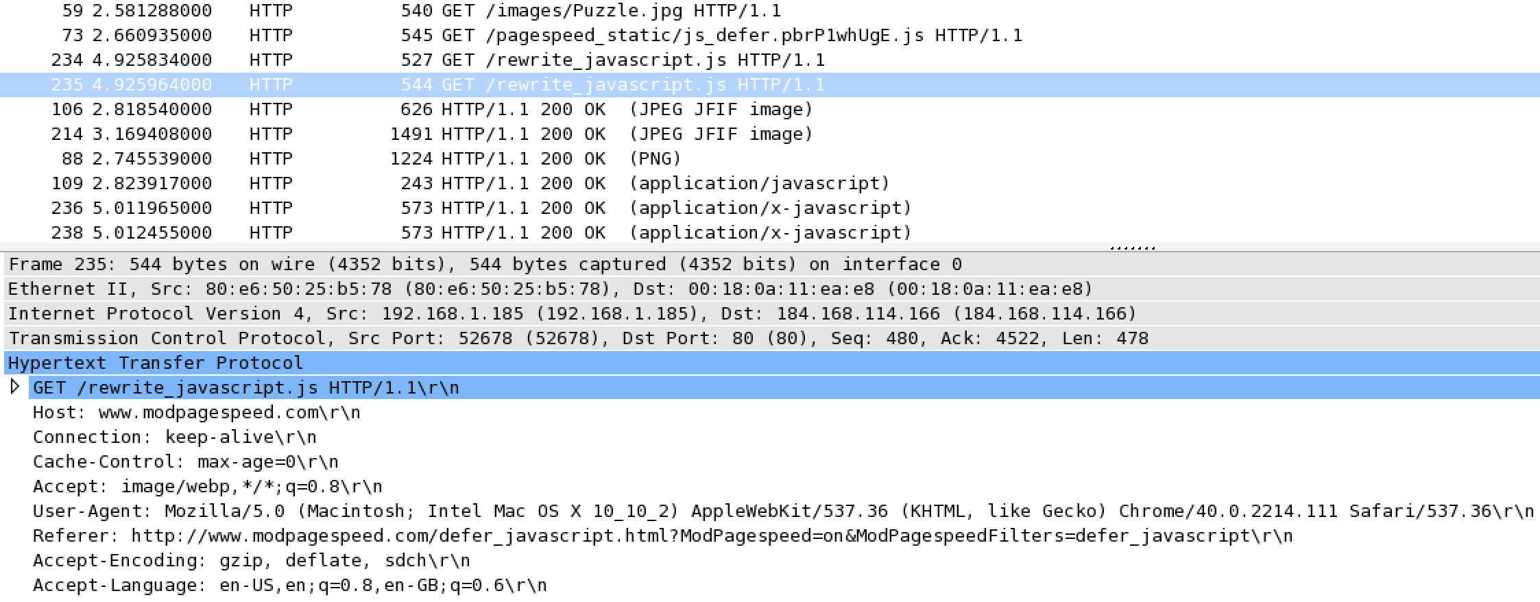 PageSpeed Wireshark