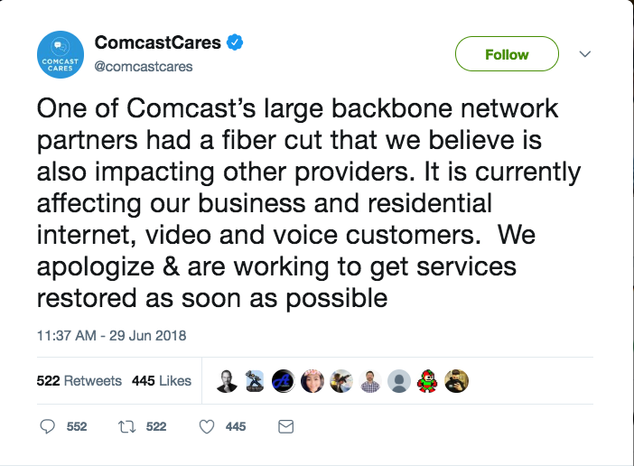 Tweet from ComcastCares