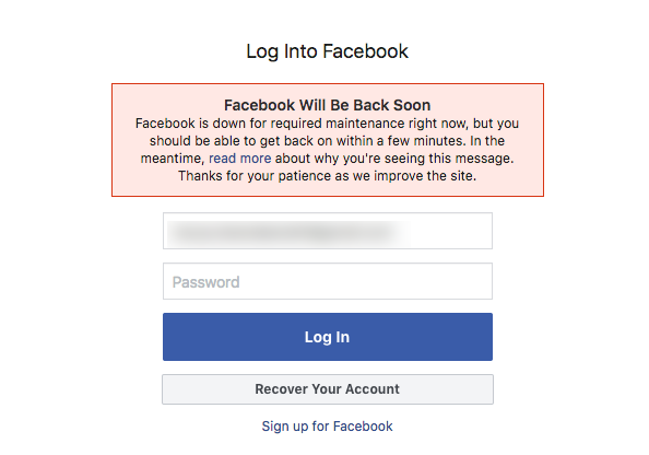 Message stating Facebook is down for maintenance and will be back soon.