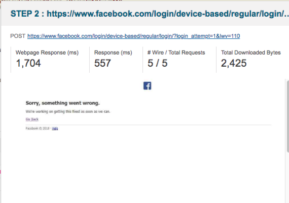 """Example of Facebook error message saying """"Something went wrong"""""""