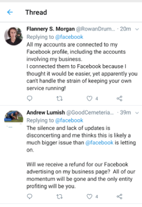 Tweets on Facebook Outage