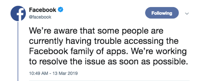 "Tweet from Facebook saying ""We're aware that some people are currently having trouble accessing the Facebook family of apps. We're working to resolve the issue as soon as possible."""